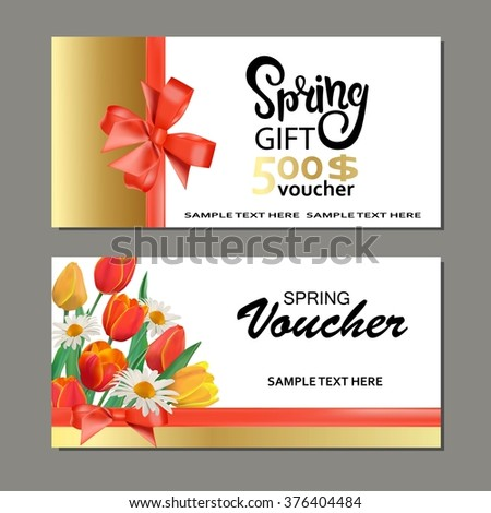 Spring Gift Cards Vouchers Templates Stock Vector HD Royalty Free