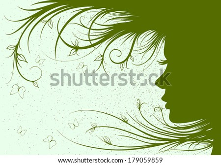 Spring girl with flowers and abstract lines - stock vector