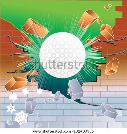 Spring golf ball breaking through red brick thawing brick wall - stock vector