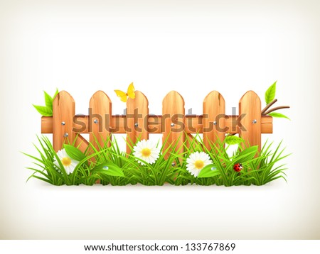 Spring grass and wooden fence vector - stock vector