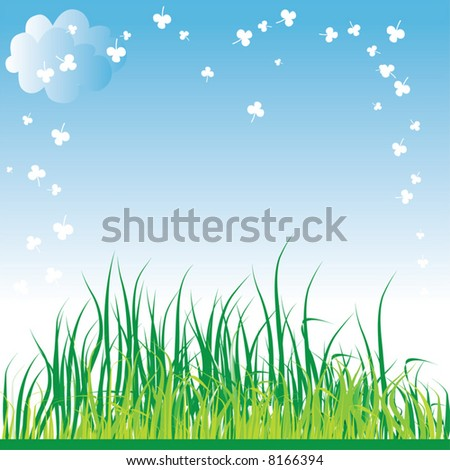 Spring grass background. Vector illustration