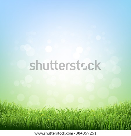 Spring Grass With Gradient Mesh, Vector Illustration - stock vector