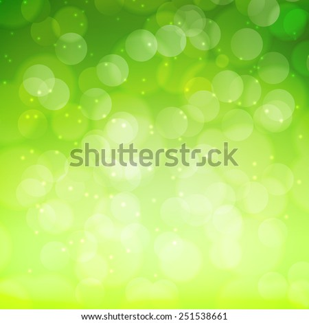 Spring green bokeh abstract light background. Vector illustration - stock vector