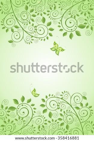 Spring green decorative floral banner - stock vector