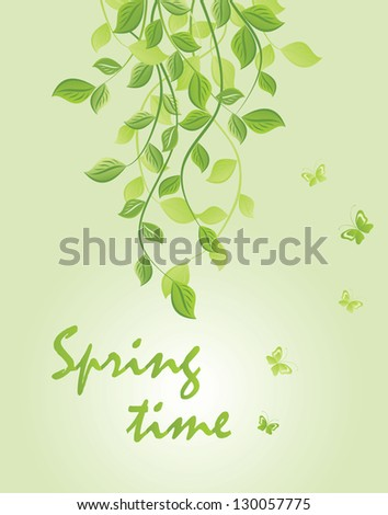 Spring green floral banner - stock vector