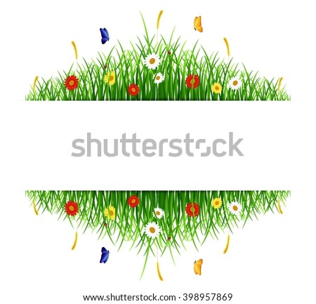 Spring green grass with flowers and butterflies on white background - stock vector