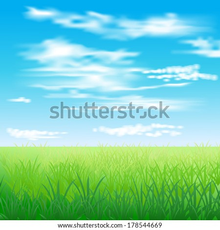 Spring. Green meadow and blue sky with white clouds. - stock vector