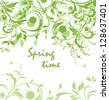 Spring green vintage floral card - stock vector