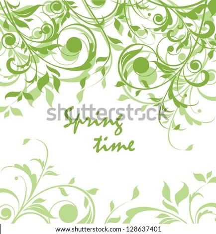 Spring green vintage floral card - stock vector