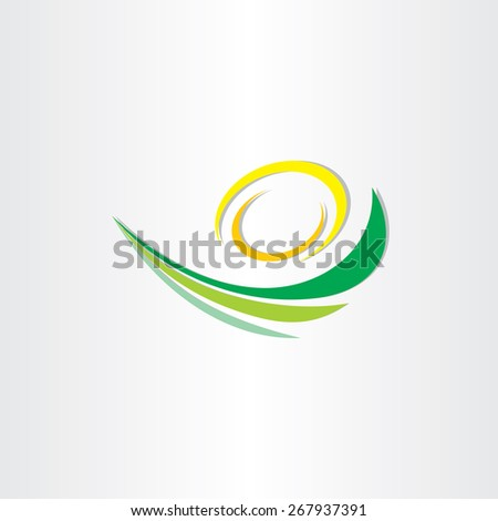 spring green waves with sun stylized icon - stock vector
