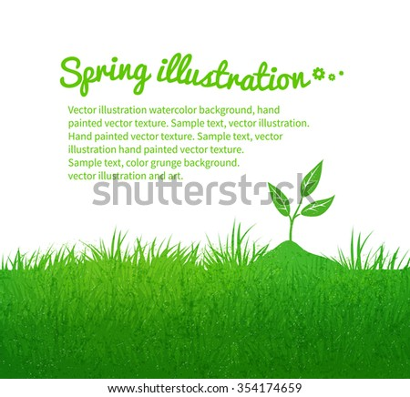 Spring grunge vector background with growing sprout. - stock vector