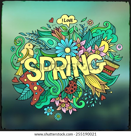 Spring hand lettering and doodles elements. Vector blurred background - stock vector