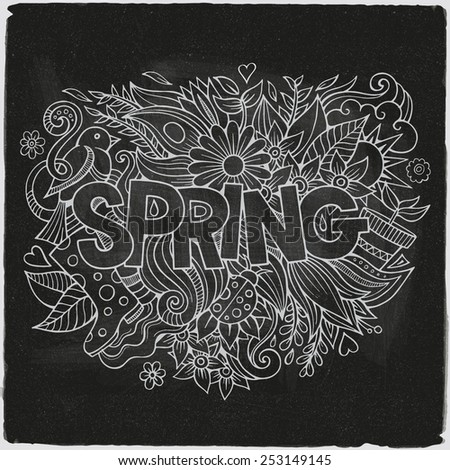 Spring hand lettering and doodles elements. Vector chalk board illustration - stock vector