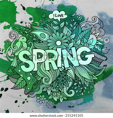 Spring hand lettering and doodles elements. Vector watercolor illustration - stock vector