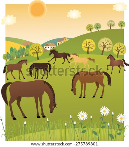 Spring horses - stock vector
