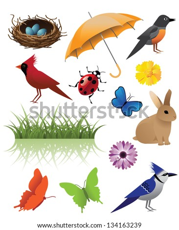 Spring Icon Symbol Graphic Deign Elements. EPS 8 vector, grouped for easy editing. No open shapes or paths. - stock vector