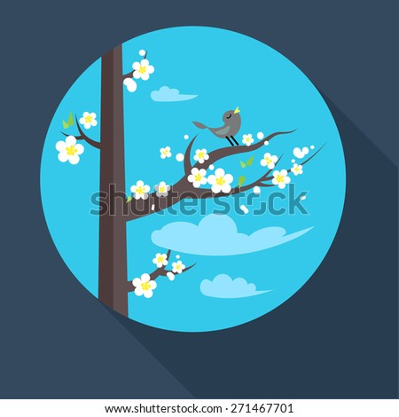 Spring icon with flowering branch and bird. Flat style - stock vector