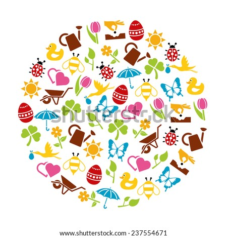 spring icons in circle - stock vector