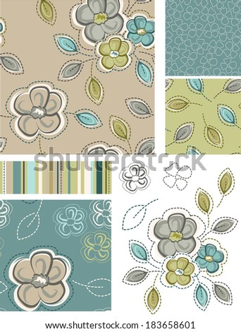 Spring Inspired Seamless Floral Patterns and Icons. Use as fills, digital paper, or print off onto fabric to create unique items. - stock vector