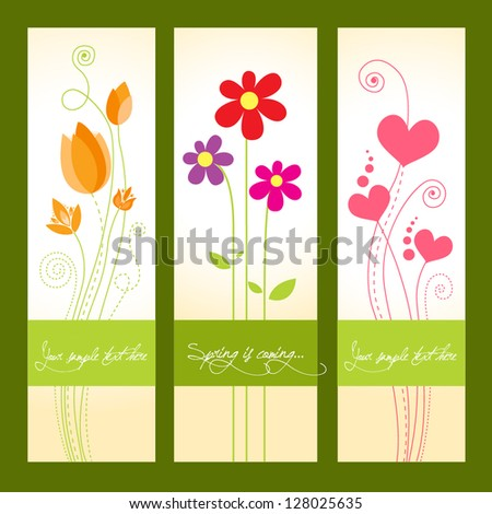 Spring is coming greeting cards with beautiful flowers - stock vector