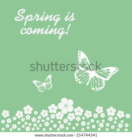 Spring is coming vintage retro background in modern flat design with two butterflies and meadow full of flowers. Eps10 vector illustration. - stock vector
