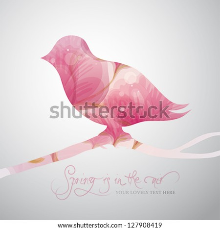 Spring is in the air / Romantic card with Silhouette of cute bird - stock vector