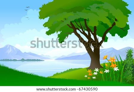 Spring Lake View - stock vector
