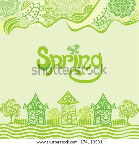 Spring landcape houses vector illustration