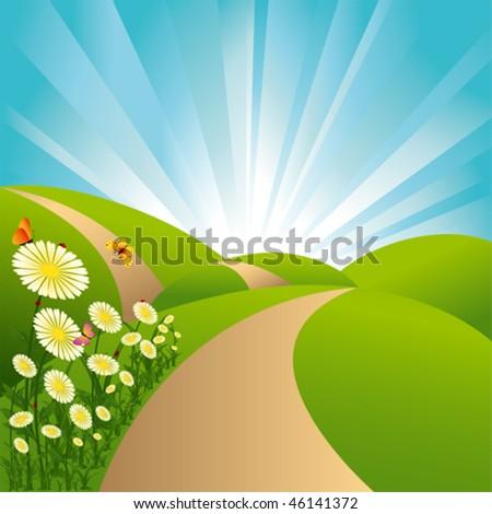 Spring landscape green fields blue sky flowers and butterflies - stock vector