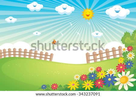 Spring Landscape Vector - stock vector