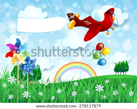 Spring landscape with airplane and banner, vector illustration eps10 - stock vector