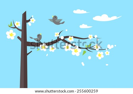 Spring landscape with blooming Sakura and birds in flat style. Natural illustration with place for text - stock vector
