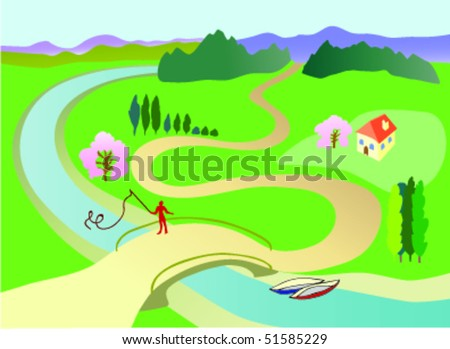 stock-vector-spring-landscape-with-fishe