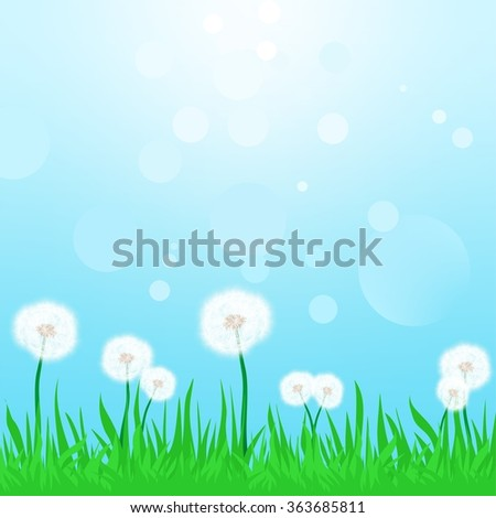 Spring landscape with green grass with flowering dandelions with the blue sky and sun reflections - stock vector