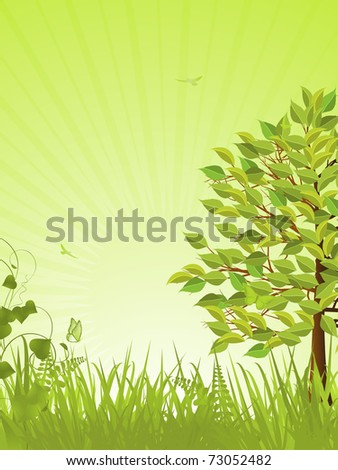 Spring landscape with green tree and grasses