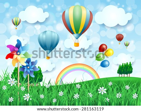Spring landscape with hot air balloons, vector illustration  - stock vector