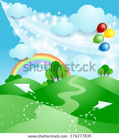 Spring landscape with rainbow, vector  - stock vector