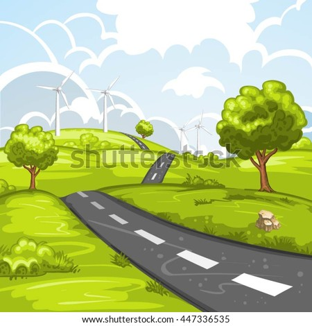 Spring landscape with road - stock vector