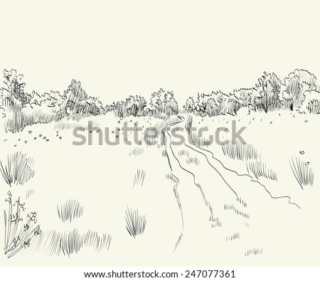 Spring landscape with road. Hand drawn vector illustration. - stock vector