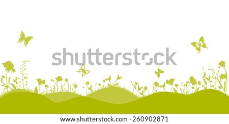 Spring landscape with silhouette grass and flowers background vector - stock vector