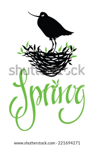 Spring lettering design card with bird - stock vector