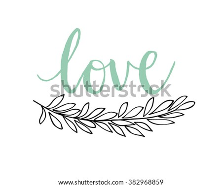 Spring Lettering with wreath - hand drawn Vector illustration. - stock vector