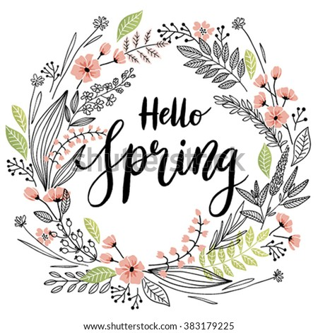 Spring Lettering With Wreath