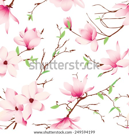 Spring magnolia flowers seamless vector pattern - stock vector