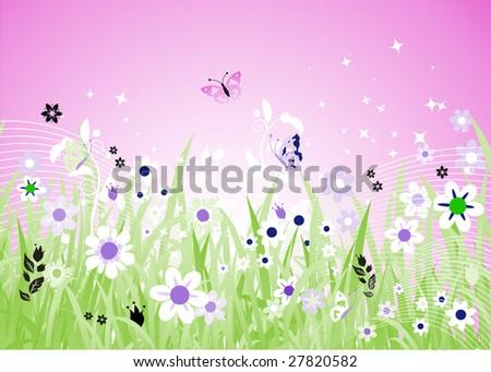 Spring meadow beautiful - stock vector