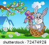 Spring meadow with bunny in basket - vector illustration. - stock vector