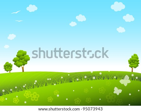 Spring meadow with trees and flowers - stock vector