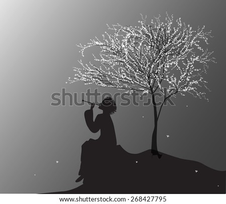 spring melody, boy sitting on the rock near the cherry tree and playing on reed pipe, vector - stock vector