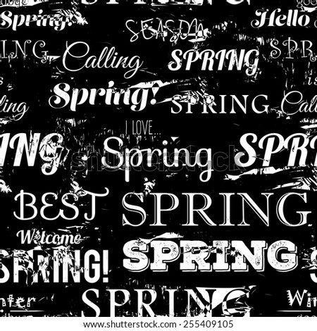 Spring modern typographic seamless pattern. Free fonts are used. - stock vector