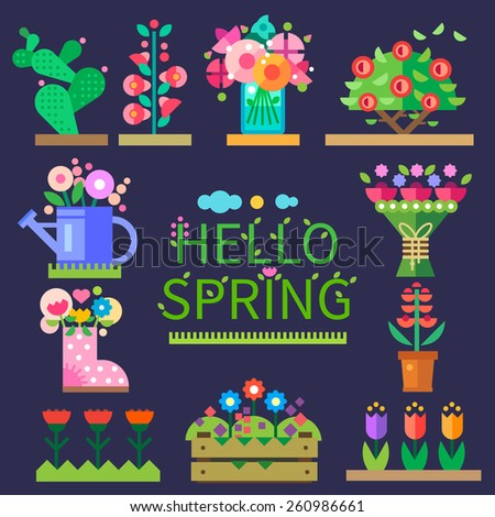 Spring mood. Flower shop. Hello spring and summer. Tulips, cactus, roses, peonies. Vector flat  illustrations, icons and sprites for game - stock vector